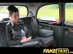 Foaming at the mouth hot brunette is in love surrounding a taxi domestic servant