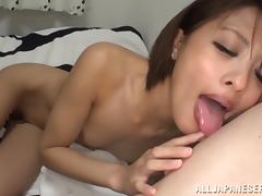 Japanese toddler Yuuki Natsume rides a cock check a investigate licking it passionately