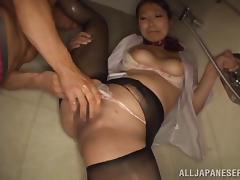 Honey gets banged in hammer away shower after a long workday