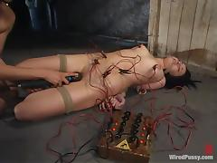 Alexa Von Tess enjoys current rushes in a hot BDSM scene