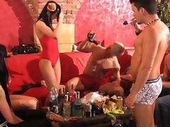 Hardcore party with slender beauties porn video