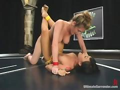 Brunette chick sucks a dildo and gets toyed after a catfight