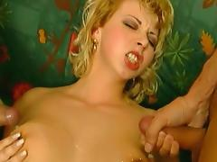 Curly-haired blonde fuck in her asshole on the stairs