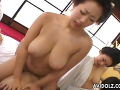 Horny Japanese chicks with big boobs in hot group sex video