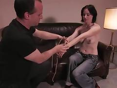 Horny Scarlet Faux gets bound and toyed at a casting