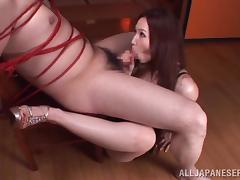 Sayuki Kanno gives a titjob and a blowjob to tied up man
