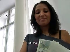 Samante enjoys licking and riding a cock in an office