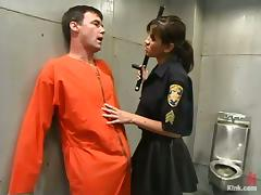 Police Officer Cole Conners Dominates and Strapon Fucks Male Inmate