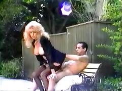 Mature retro blonde Tina Owen blows and gets fucked in the yard porn video