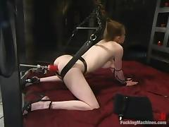 Petite blond siren Nicole Scott gets naked for a fucking machine