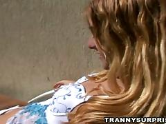 Skinny Blond Ladyboy with Small Boobs Gets Fucked Outdoors