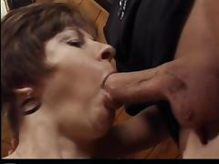 Mature brunette Rosamund gets her mouth and cunt pounded hard