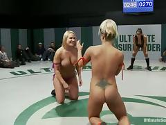 Nude sluts enjoy playing lesbian games during a fight on tatami