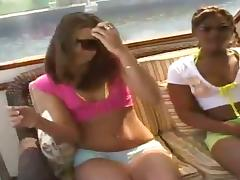2 Guys Rock the Boat with 2 Sexy Oiled Up Bikini Babes!