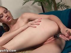 Leggy Dasha Puff dildo fucks her wet cunt porn video