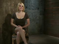 Tied up blonde with big boobs gets her pussy toyed
