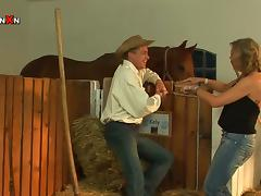 Farmer Momma Gets Fucked By A Cowboy Stud in the Stables