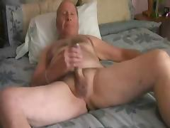 Grandpa jerk and cum in his bed