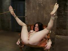 Bound Scarlet Faux gets fingered and whipped with a stick