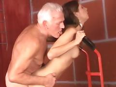 Small-tit chick Rachel is getting fucked by an oldie