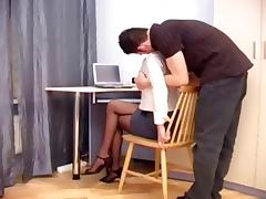 Secretary fucking in sheer crotchless hosiery