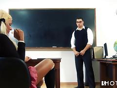 blonde schoolgirl sucks her teachers cock