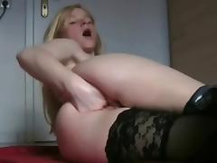 Wild girl fingering all her holes & insert some things