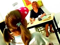 Teen Slut Is Used By Her Lesbian MILF Teacher With Big Dildo