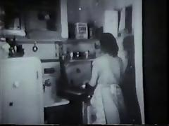 Vintage honey fucked by door to door salesman in kitchen