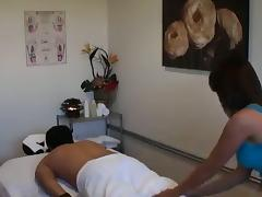 Nice Asian girl with big tits is fucking on the massage table