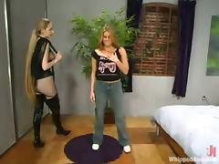 Two sexy blonde chicks play some role games in a bedroom