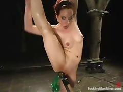 Flexible Pinky Lee gets her wet pussy toyed by a machine