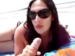 Blowjob and handjob on the Beach