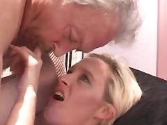 Old and Young, Blonde, Blowjob, Couple, Old Man, Small Tits