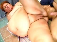 Sherry lifts her huge fat belly to show her cunt and get it fucked