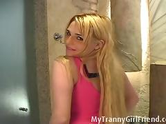 MyTrannyGirlfriend: Blonde tranny rides a white dildo