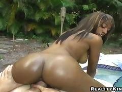 Appetizing Cali Has Interracial Sex Outdoors In A POV Video