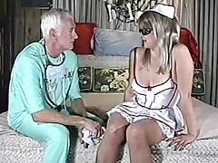 Amateur chick in nurse uniform gets fuckde by old doctor