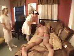 Dominant nurses fuck their patient with a toy porn video