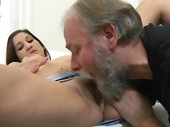 Old and Young, Brunette, Casting, Couple, Cum in Mouth, Old Man