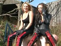 2 strict riding mistresses burn and whip their serf