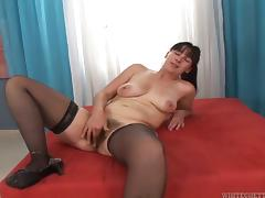 Mature brunette Petka blows and gets her hairy snatch slammed