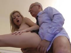 Blonde Sasha being drilled in her face by old one
