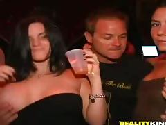 Victoria Lawson gives a terrific blowjob to some man in a club