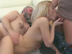 Old and Young, Blonde, Blowjob, Masturbation, Penis, Riding