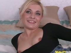 Hot chick in a miniskirt gets her wet pussy rammed