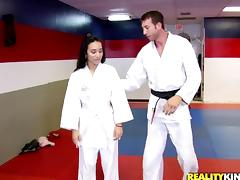 Stunning Nina Lee Serves A Tasty Blowjob After Doing Karate