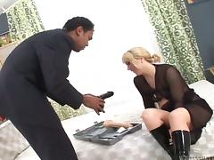 Blonde mom Lindsia gets her cunt toyed and fucked by a black dude