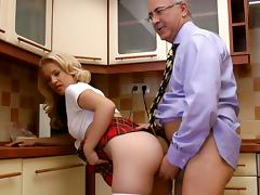 Riding, Blonde, Blowjob, Fucking, Kitchen, Penis