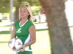 Alison Angel poses in sexy soccer outfit in a park